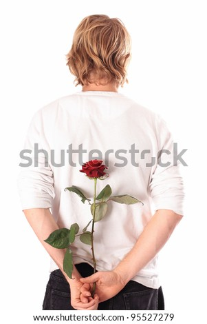 Lover with a rose - stock photo