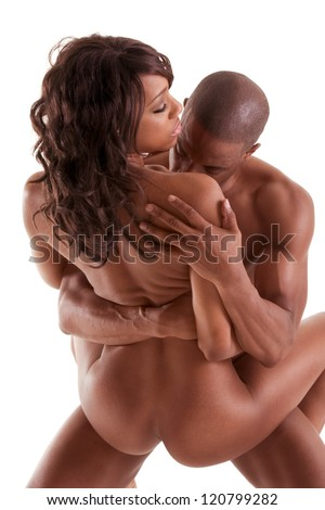 Lovers - African-American black sensual couple making love