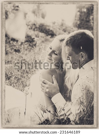 lovers couple in love together valentine black and white vintage card