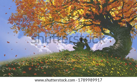 lovers sitting and playing guitar under the tree in autumn, digital art style, illustration painting Zdjęcia stock ©