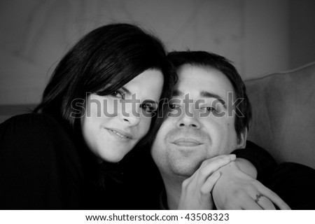 black and white photography lovers. stock photo : Lovers snuggle in lack and white