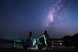 Lovers with beautiful night sky.