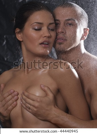 stock photo : Loving affectionate nude heterosexual couple in shower ...