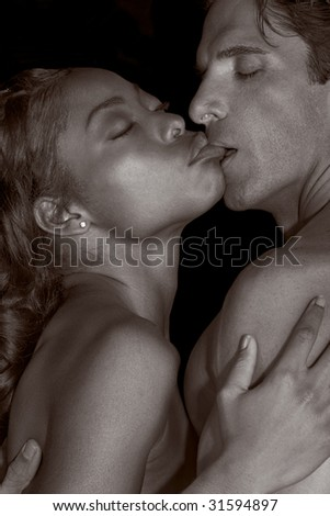 stock photo : Loving affectionate nude interracial heterosexual couple in ...