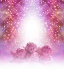 Loving Cherub  background - three pink cherubs staring out thoughtfully with divine light behind their heads on an ethereal sparkling glittery background with plenty of copy space