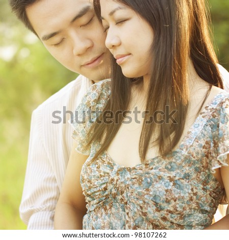 Loving Couple at outdoor during sunset