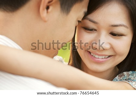 Loving Couple face to face at outdoor during sunset