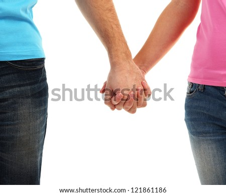 Loving couple holding hands isolated on white