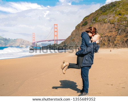 Loving couple man and woman hugging on beach in San Francisco on Golden gate bridge background on Sunny day #1355689352