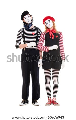 loving couple of mimes with red hearts. isolated on white