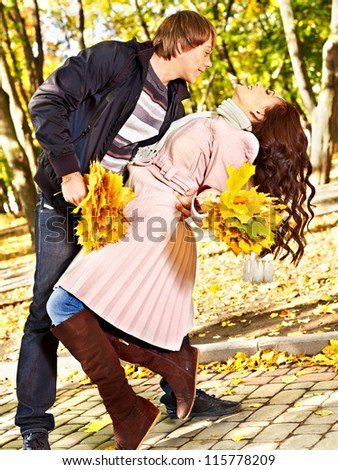 Loving couple on date autumn outdoor.