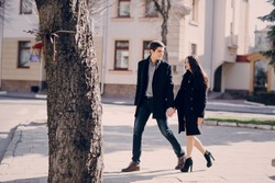 loving couple walking city