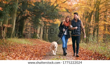 Loving Couple Walking With Pet Golden Retriever Dog Along Autumn Woodland Path Through Trees Foto stock ©