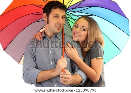 Loving couple with umbrella isolated on white