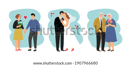Loving couples of different ages. Teenagers, newlyweds and seniors isolated on white background. cartoon characters set Foto stock ©