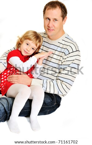 loving father and daughter are hugging over the white