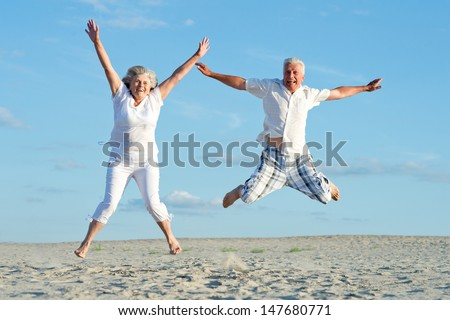 loving mature couple on a background of clear sky #147680771