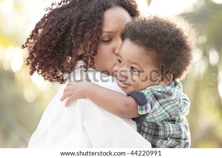 Loving mother and son