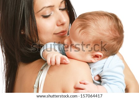 Loving mother with her infant child isolated on white background