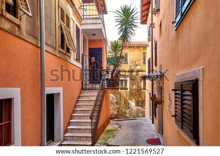 Lovran, Istria, Croatia. Vintage buildings and houses at narrow lanes of old town. Stone stairs, wooden doors and windows. Palm tree between brick walls.