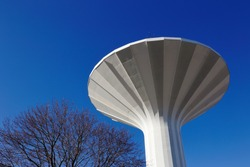Low angel view of the mushroom shaped water tower Svampen located in Orebro, Sweden.