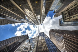 Low Angle Architectural View of Modern Glass Skyscrapers, Manhattan, New York City, New York, USA