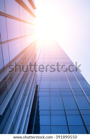 Low angle looking up at the skyscrapers of the city #391890550
