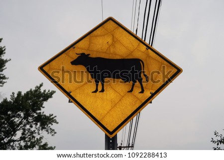 Low angle of a street sign with the symbol of a cow on it.                                #1092288413