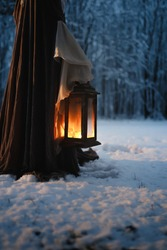 Low angle of beautiful vintage lantern in hands of cosplaying woman wearing medieval cloak in night winter forest