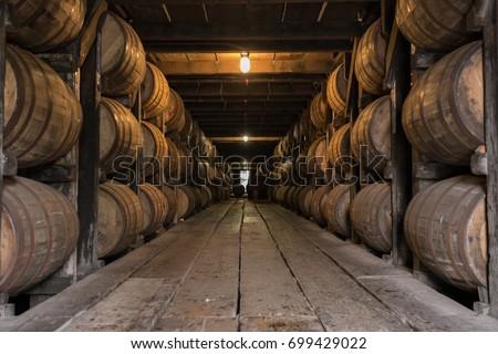 Low Angle of Bourbon Aging Warehouse Walkway in basement storage