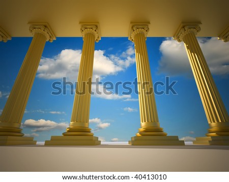 Low angle of golden roman columns - 3d render