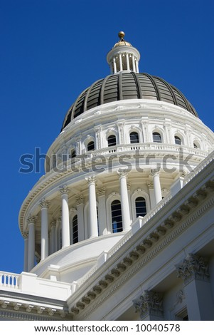 Low angle of the dome at the Sacramento Capitol building, California, USA. #10040578