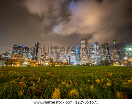 Low Angle Picture of Downtown Chicago Skyline During Winter Night
