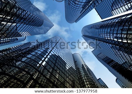 Low angle shot of modern glass city buildings with cloudy sky background. #137977958