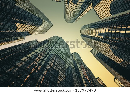 Low angle shot of modern glass city buildings with sunset background. #137977490