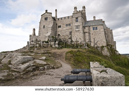 Low angle shot of Saint Michael's Mount in Marazion, Cornwall, UK