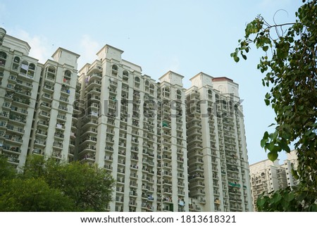 Low angle shot of Society flat in Delhi, luxury apartments in Delhi, NCR and Mumbai, real estate properties in india