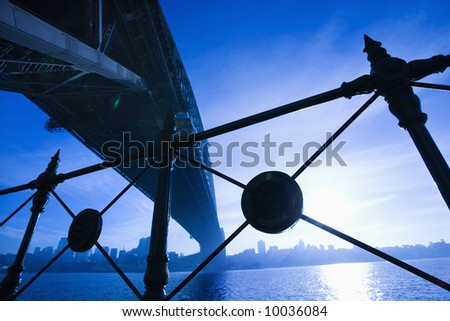 Low angle view at dusk from under Sydney Harbour Bridge in Australia with view of skyline and harbor.