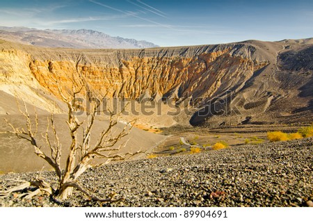 Low angle view down the side of the Ubehebe Crater of Death Valley, California.