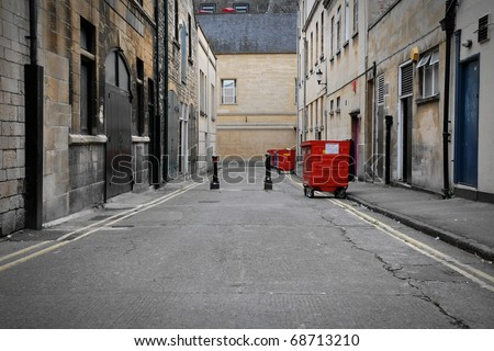 Low Angle View of a Dark Alley in an Inner City Area