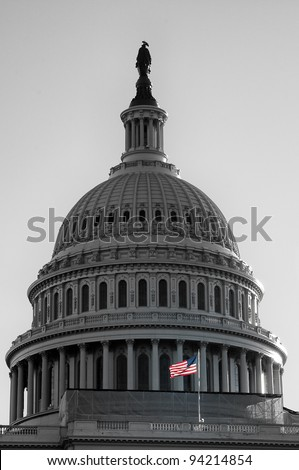 Low angle view of a government building, US Capitol Building, Washington DC, USA