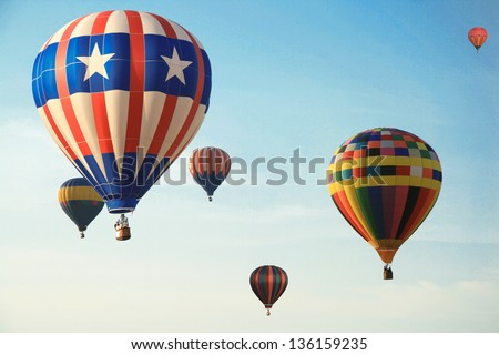 Low angle view of a hot air balloons in Sunrise Hot Air Balloon Race, Miami, Miami-Dade County, Florida, USA
