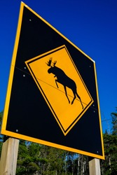 Low-angle view of a large moose crossing warning sign in Algonquin Park, Ontario, Canada.