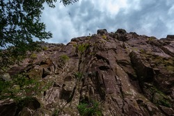 Low-Angle View of a Rockface in Shenandoah National Park, Virginia, USA
