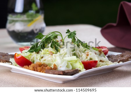 Low angle view of a serving of food on a plate with meat and a healthy green leafy salad with tomatoes