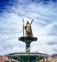 Low angle view of a statue, Plaza de Armas, Cusco, Peru