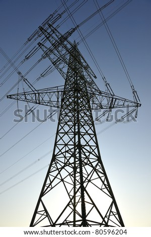 Low angle view of an electricity pylon