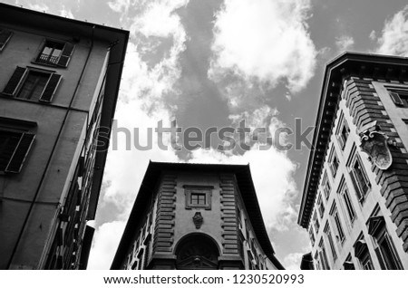Stock Photo Low angle view of buildings against sky. Photo taken in Florence, Metropolitan City of Florence, Tuscany, Italy.