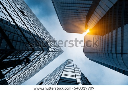 low angle view of business buildings in Hong Kong,China. #540319909