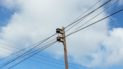 Low Angle View of Electric Line Under Clear Blue Sky, Cable Electric Line